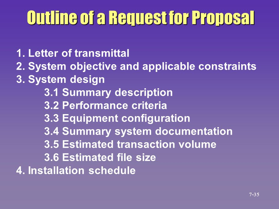Outline of a Request for Proposal