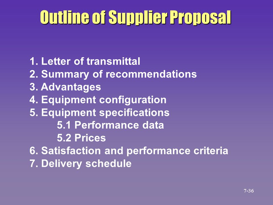 Outline of Supplier Proposal