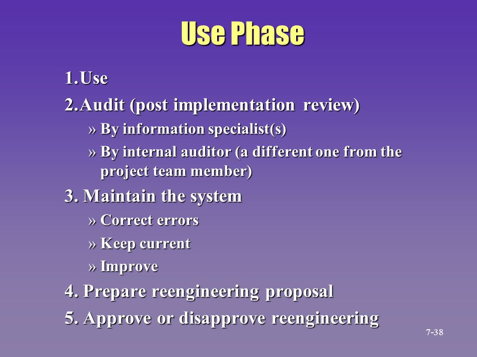 Use Phase 1. Use 2. Audit (post implementation review)