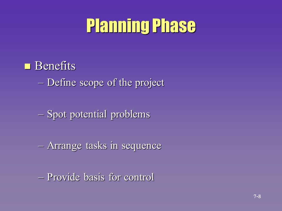 Planning Phase Benefits Define scope of the project
