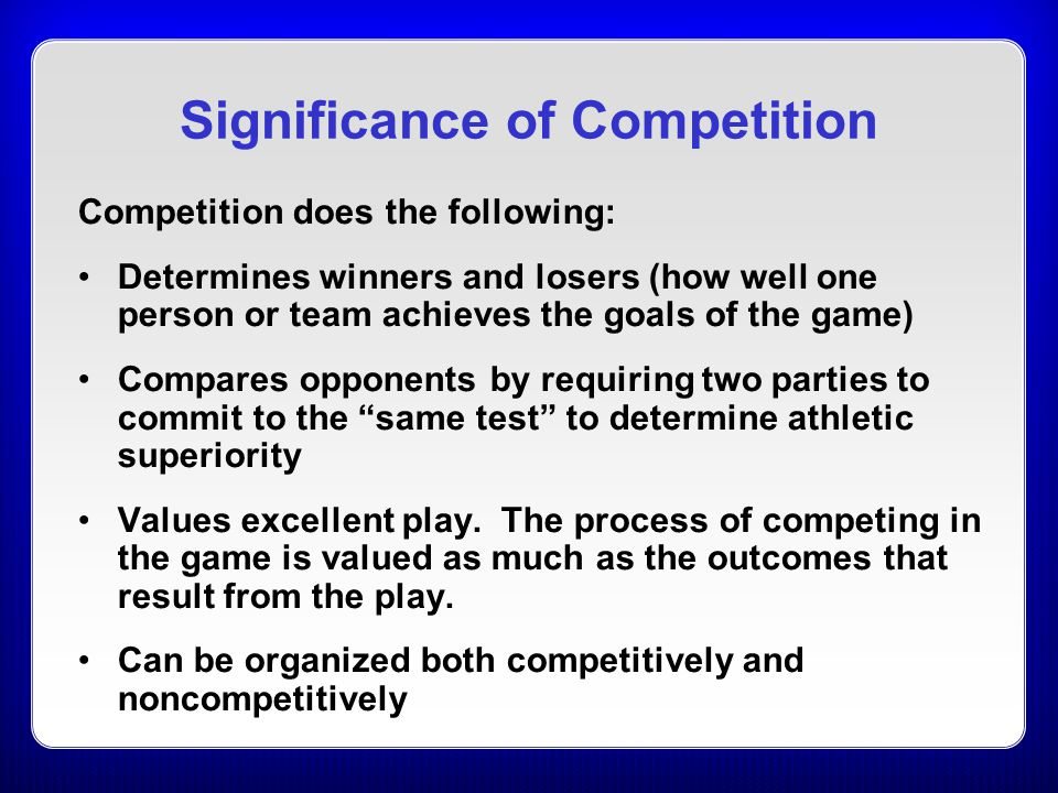 Significance of Competition