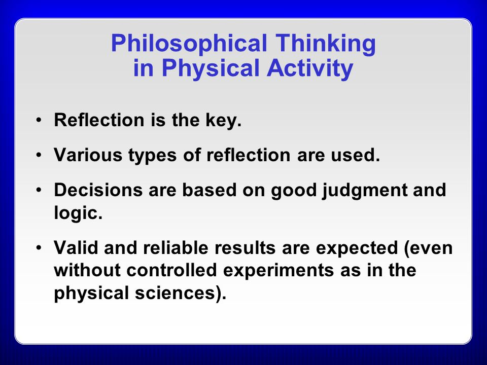 Philosophical Thinking in Physical Activity