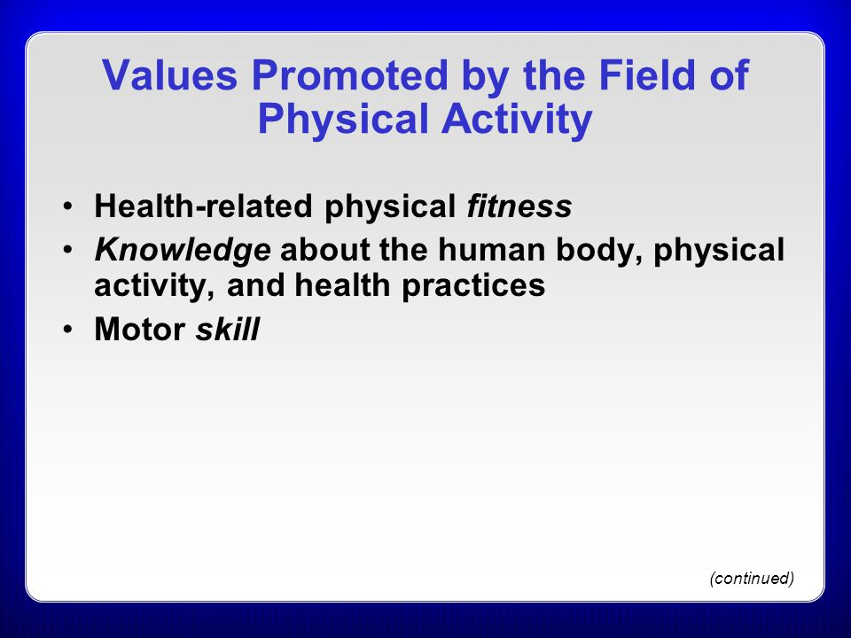 Values Promoted by the Field of Physical Activity