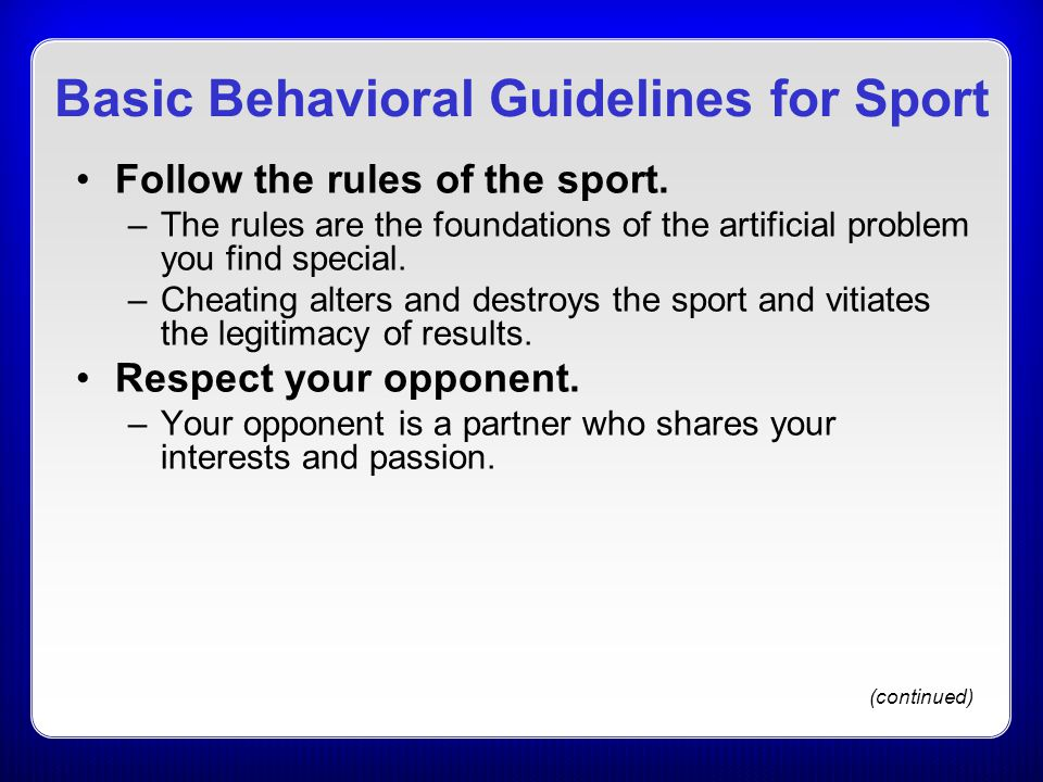 Basic Behavioral Guidelines for Sport