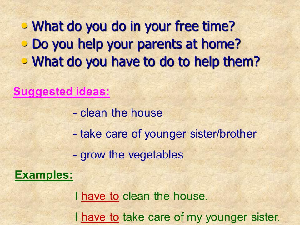 What do you do in your free time Do you help your parents at home
