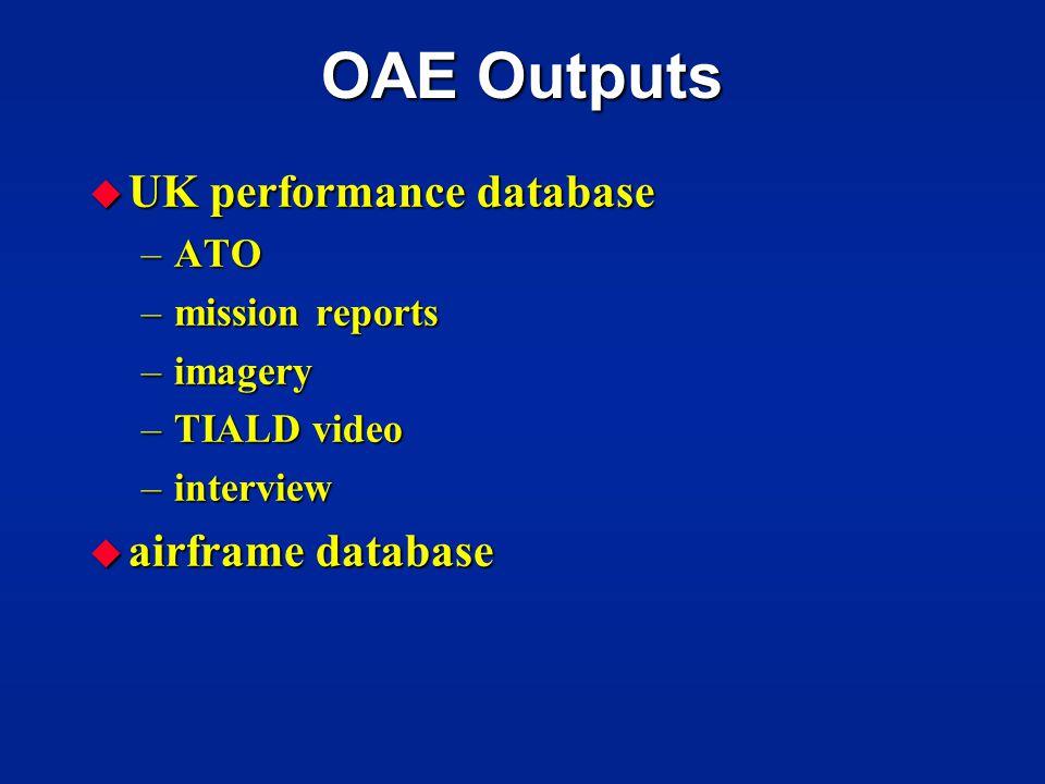 OAE Outputs UK performance database airframe database ATO