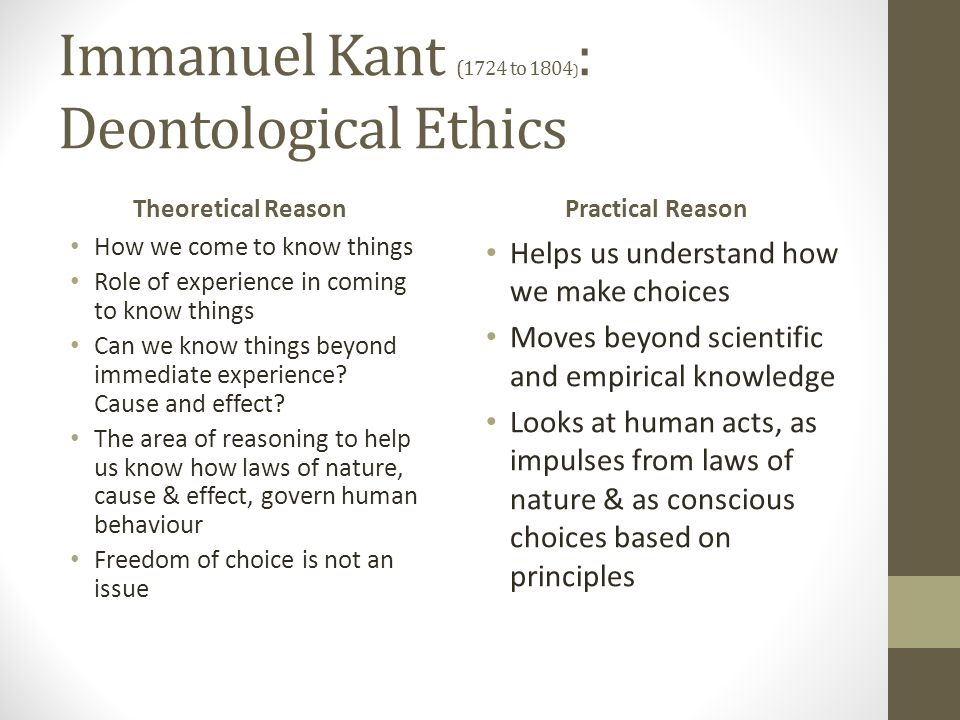 Immanuel Kant (1724 to 1804): Deontological Ethics