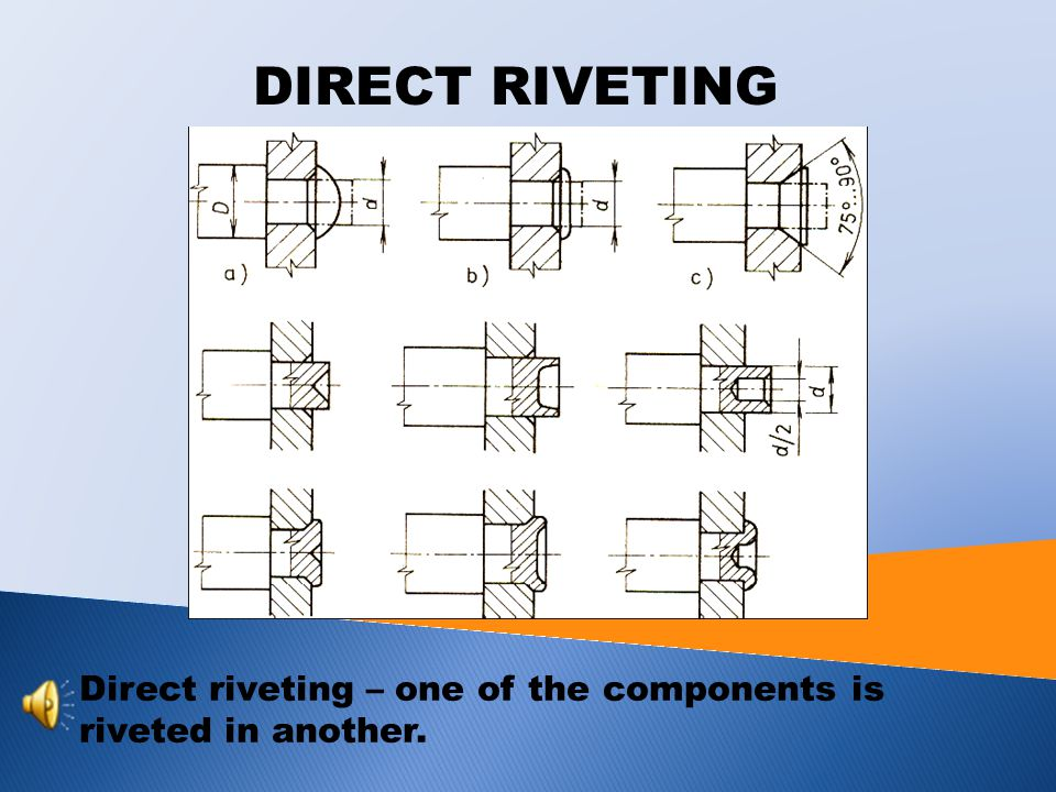 DIRECT RIVETING Direct riveting – one of the components is riveted in another.
