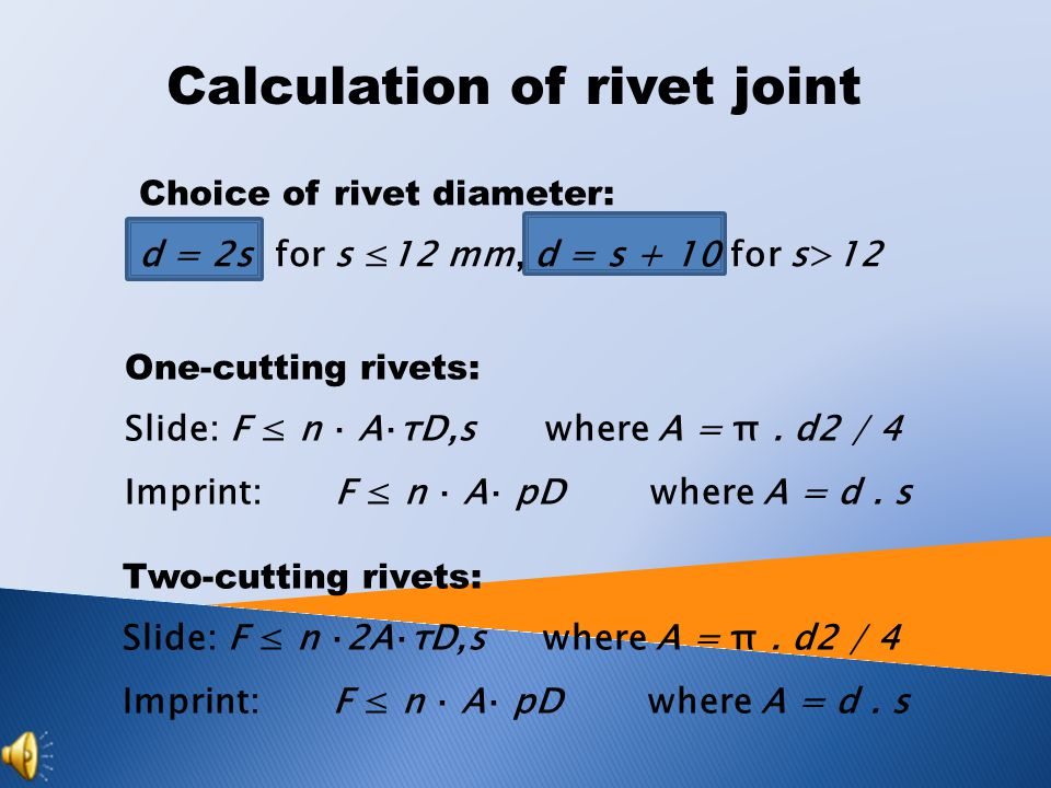 Calculation of rivet joint