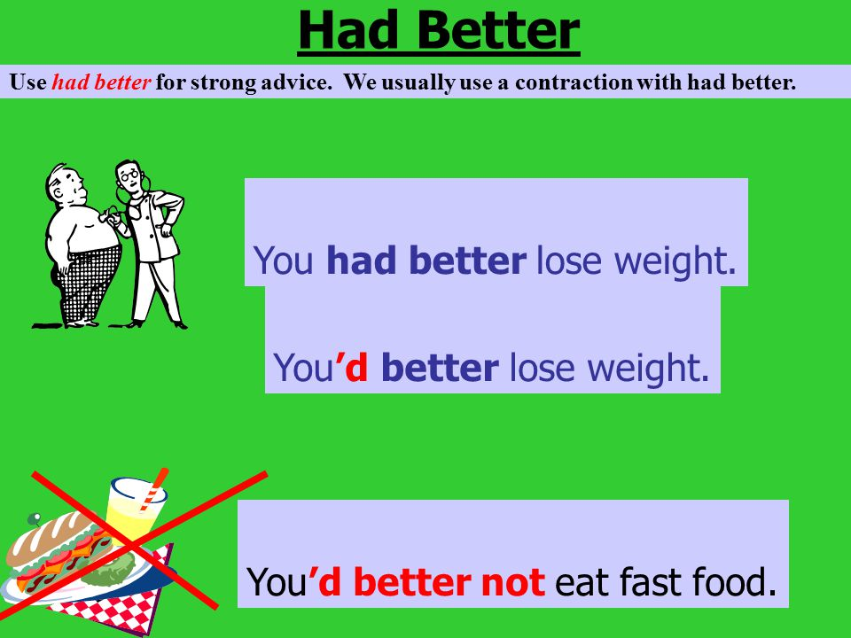 Had Better You had better lose weight. You'd better lose weight.
