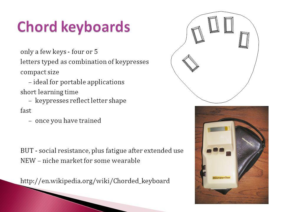 Chord keyboards only a few keys - four or 5