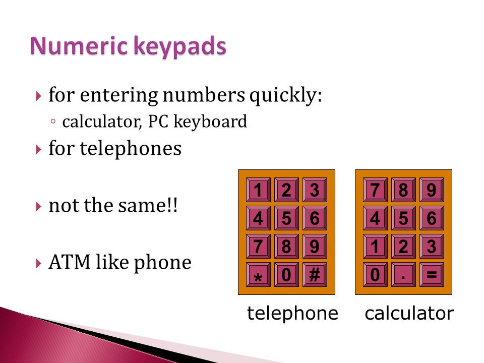 * Numeric keypads . for entering numbers quickly: for telephones