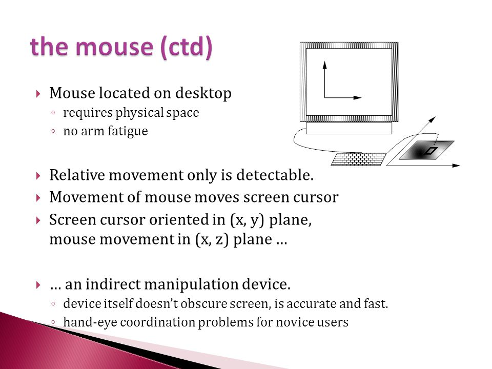 the mouse (ctd) Mouse located on desktop