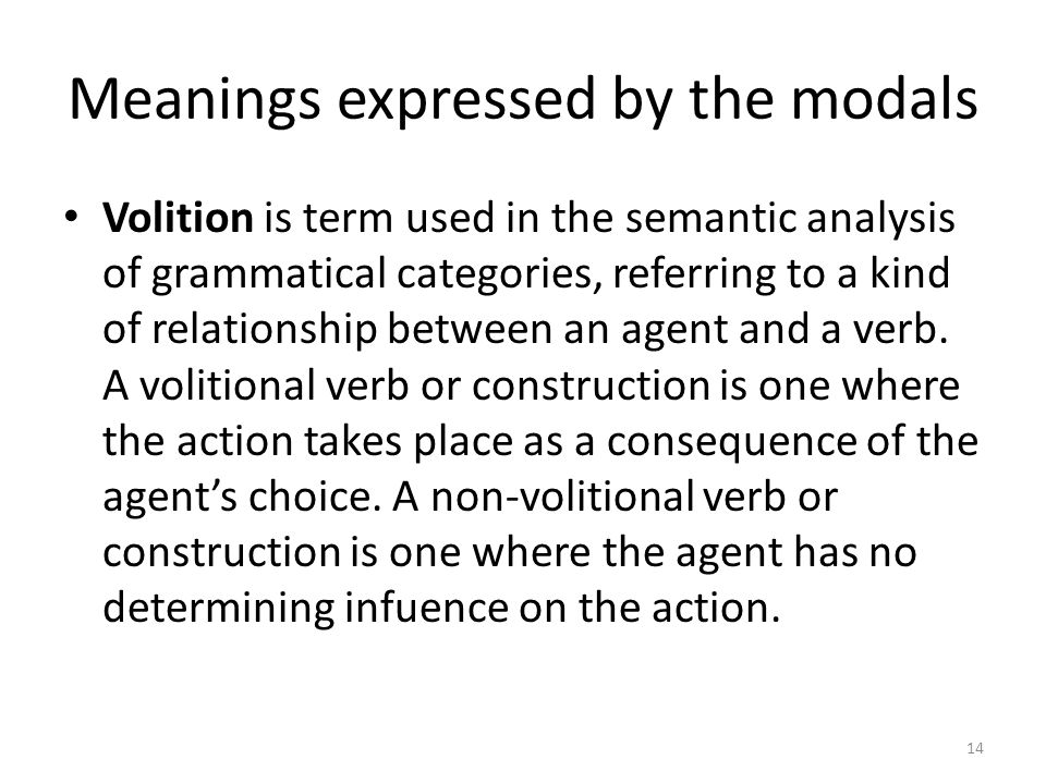 Meanings expressed by the modals