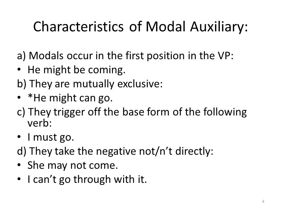 Characteristics of Modal Auxiliary: