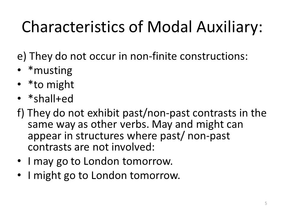 Characteristics of Modal Auxiliary: