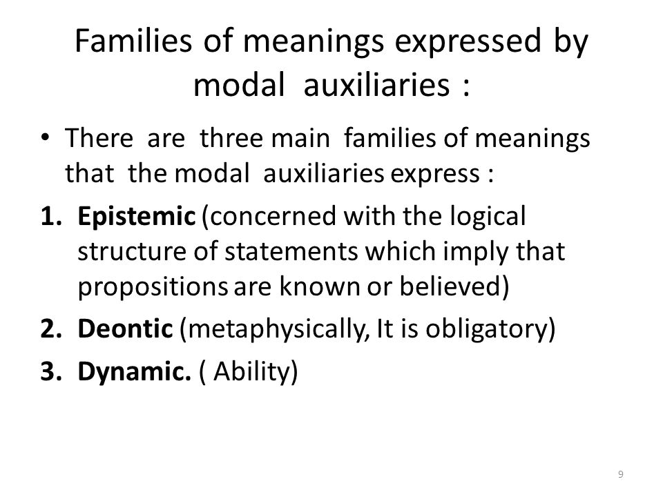 Families of meanings expressed by modal auxiliaries :
