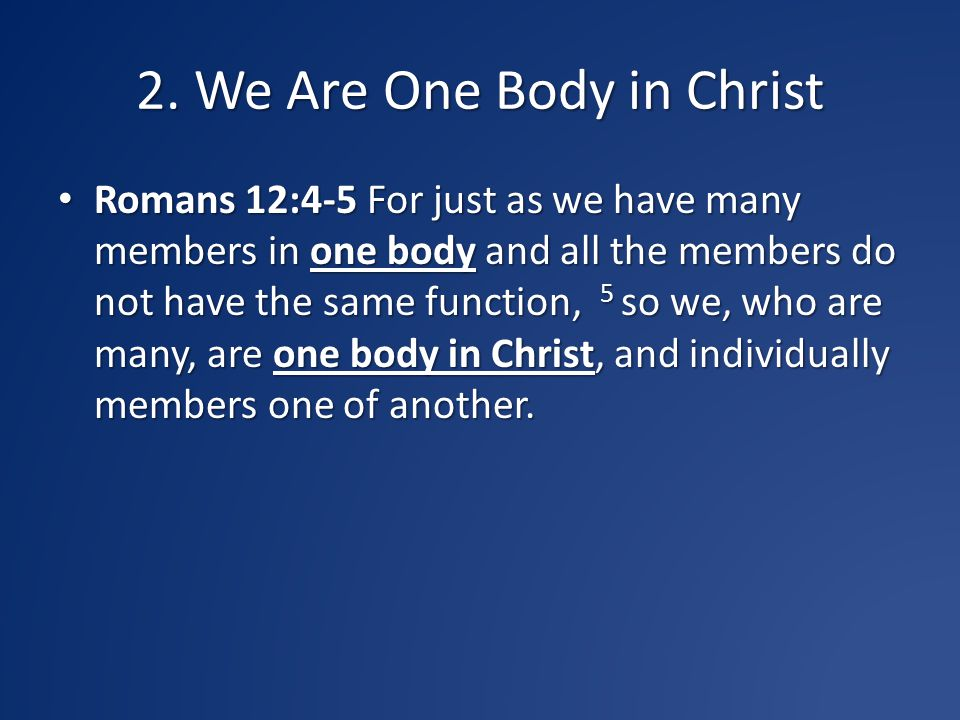 2. We Are One Body in Christ