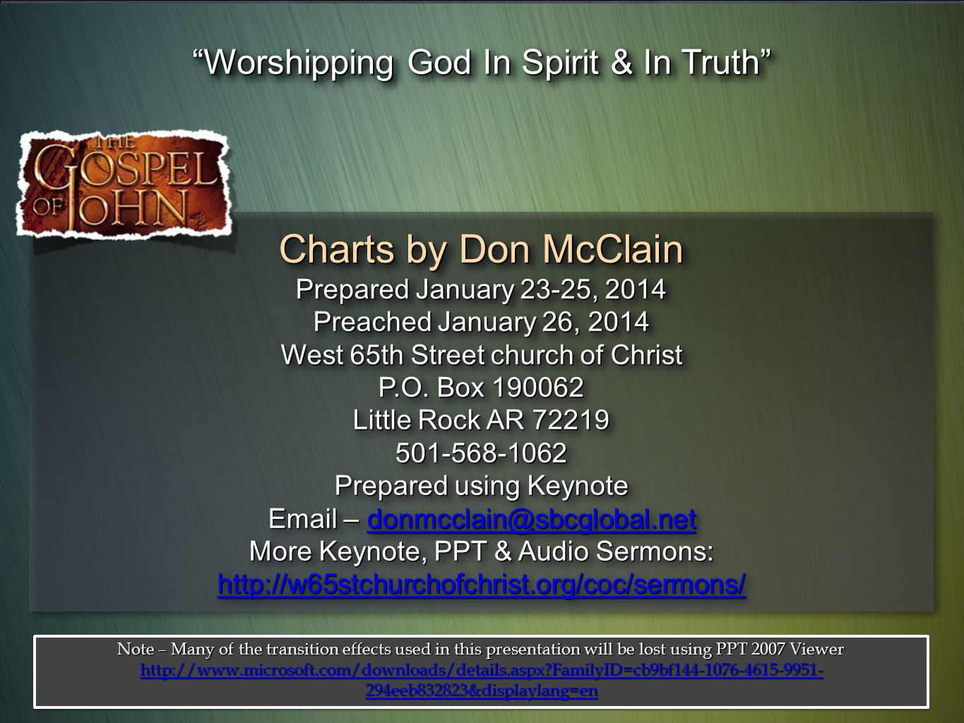 Charts by Don McClain Worshipping God In Spirit & In Truth