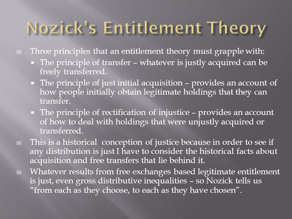 Nozick's Entitlement Theory