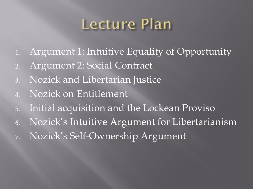 Lecture Plan Argument 1: Intuitive Equality of Opportunity