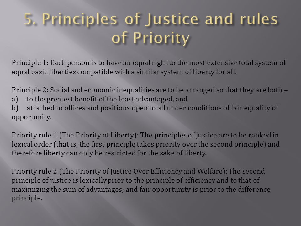 5. Principles of Justice and rules of Priority