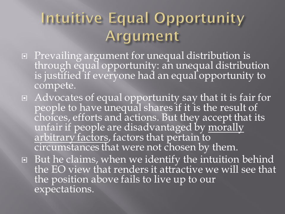 Intuitive Equal Opportunity Argument