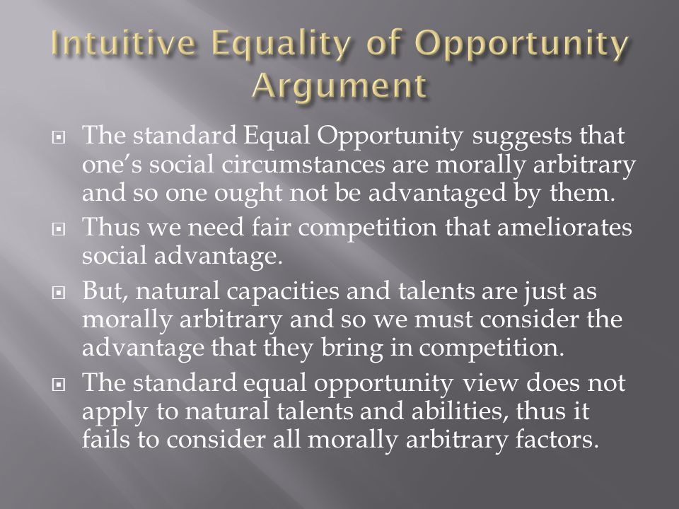 Intuitive Equality of Opportunity Argument