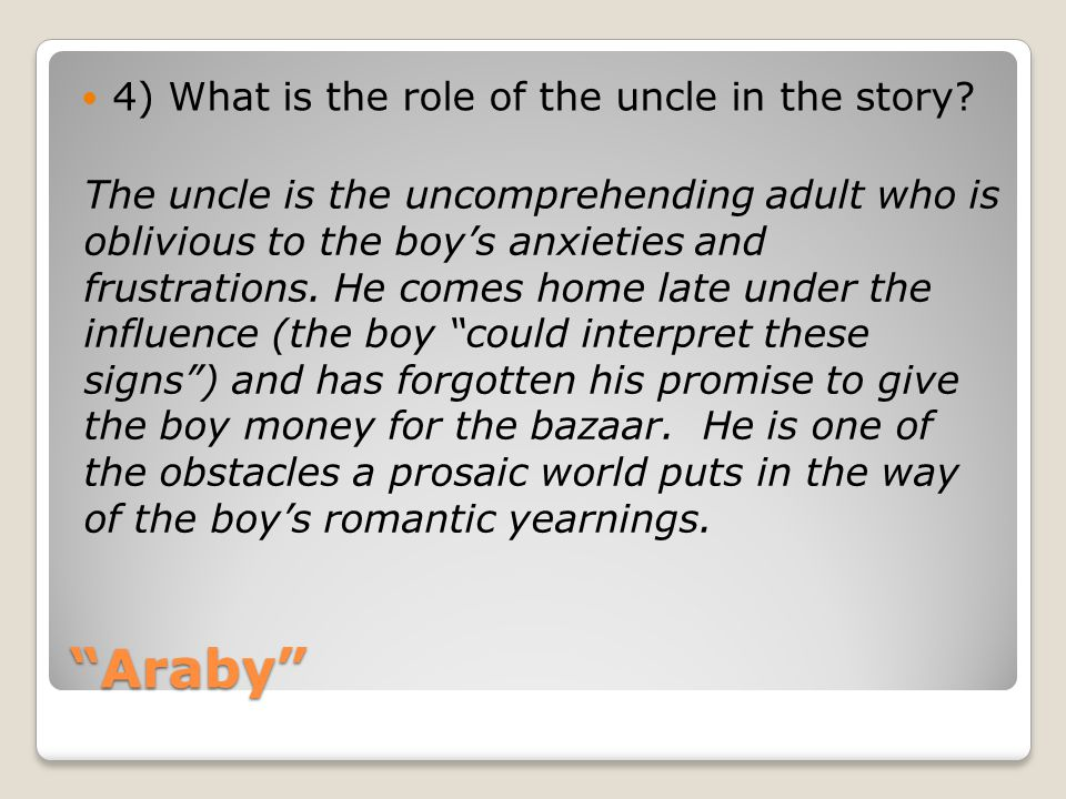 Araby 4) What is the role of the uncle in the story
