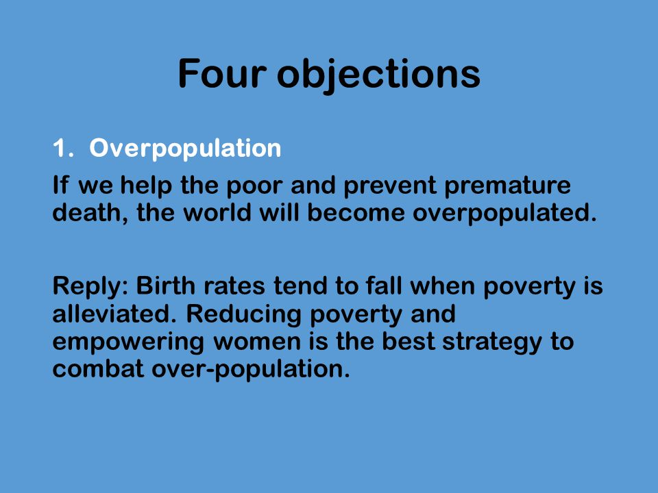 Four objections Overpopulation
