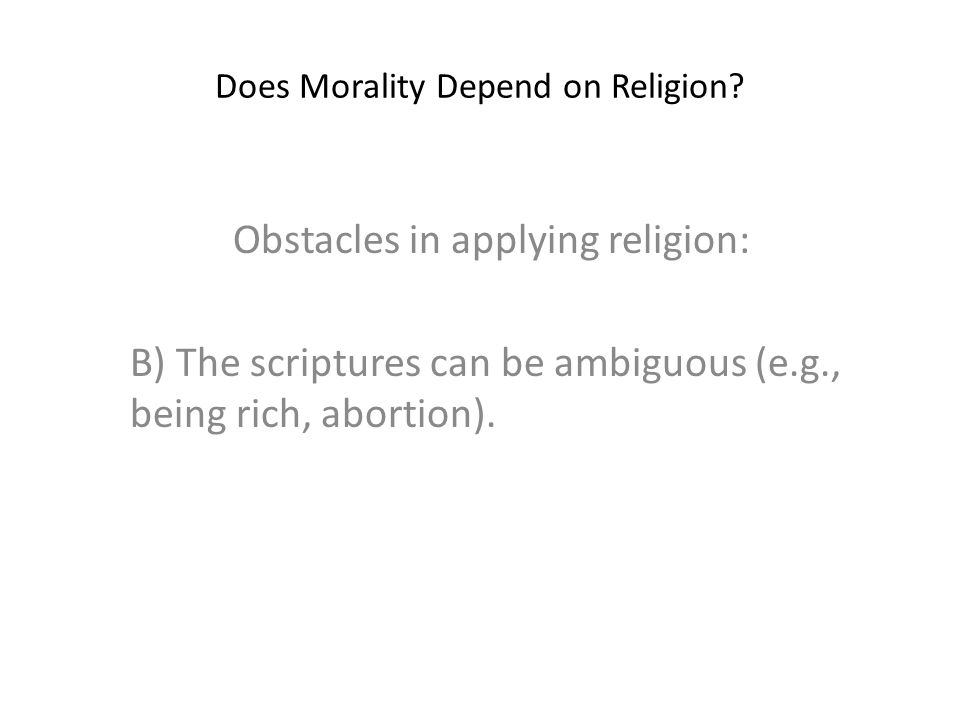 Does Morality Depend on Religion