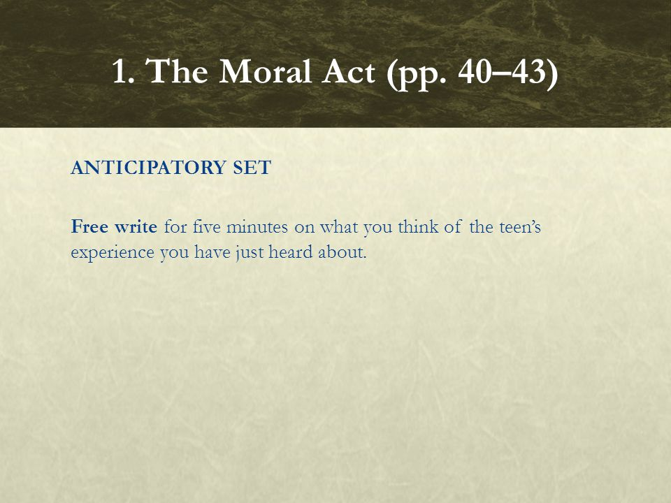 1. The Moral Act (pp.