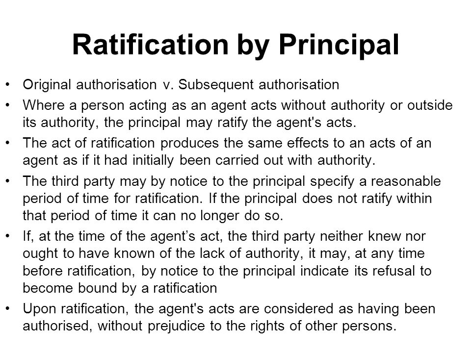 Ratification by Principal