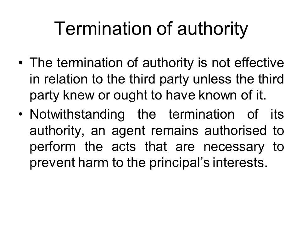 Termination of authority