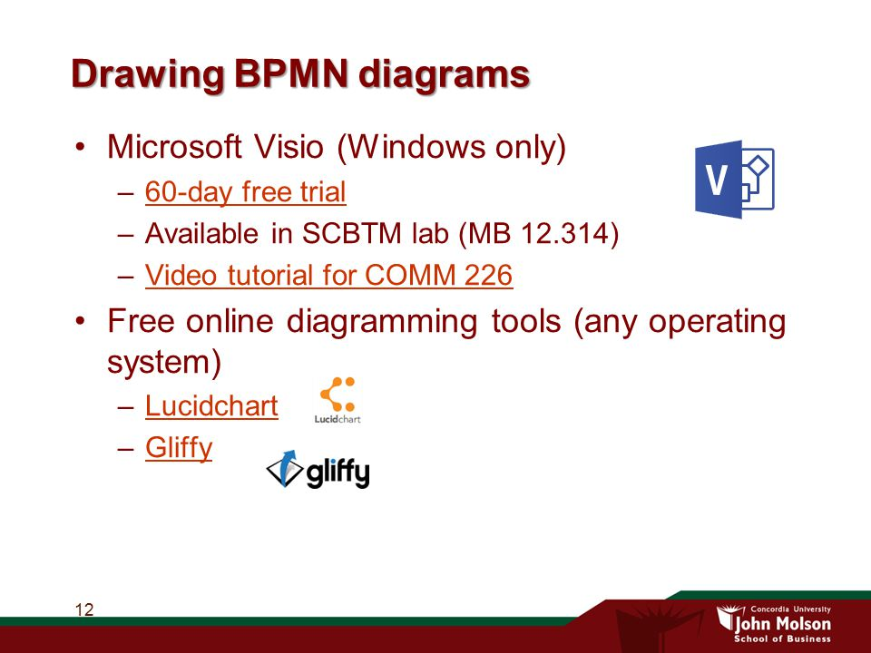 Drawing BPMN diagrams Microsoft Visio (Windows only)