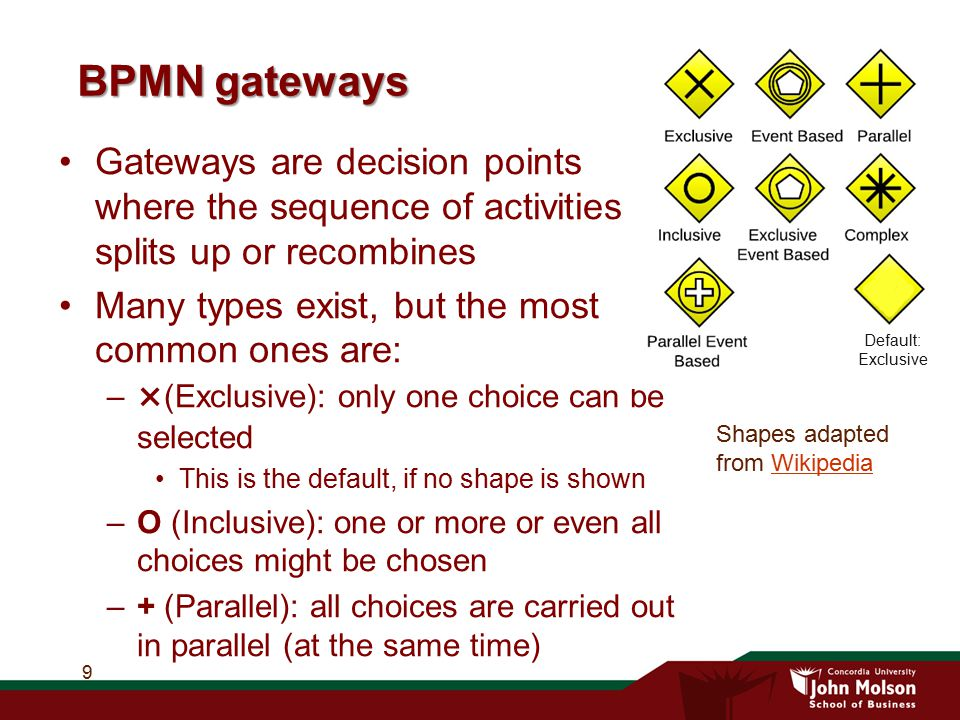 BPMN gateways Default: Exclusive. Gateways are decision points where the sequence of activities splits up or recombines.
