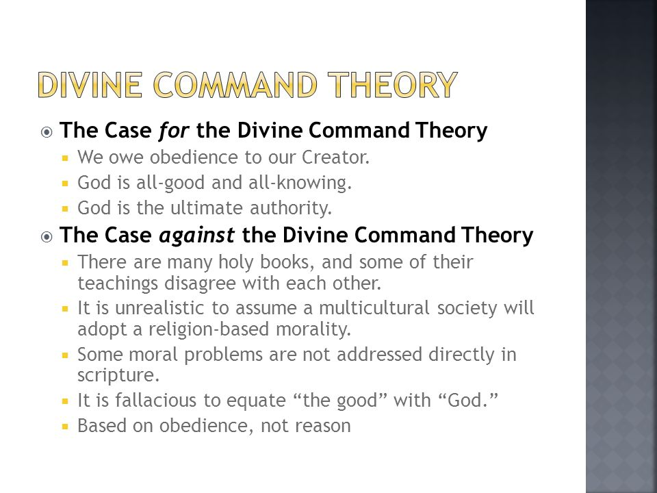 Divine command theory The Case for the Divine Command Theory
