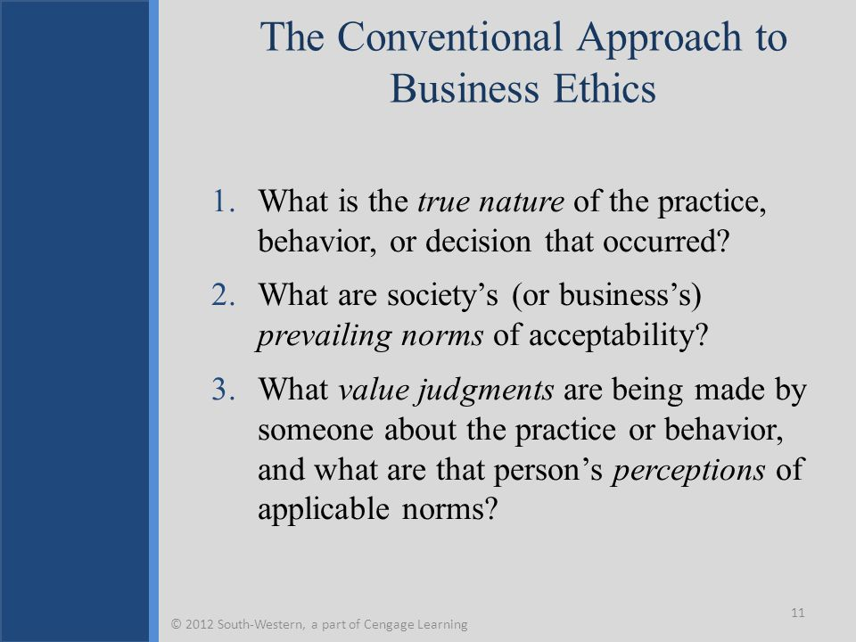 The Conventional Approach to Business Ethics
