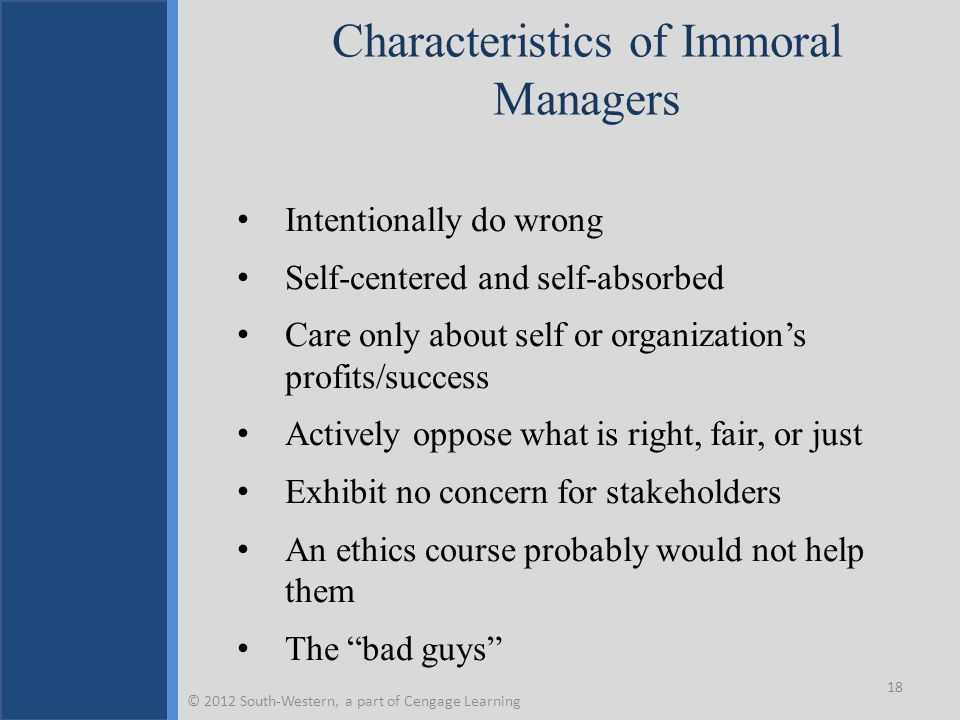 Characteristics of Immoral Managers