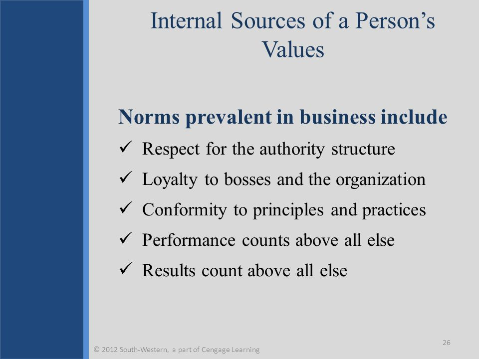 Internal Sources of a Person's Values