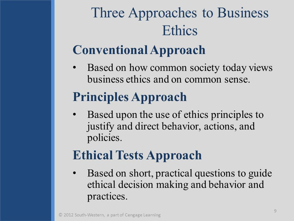 Three Approaches to Business Ethics