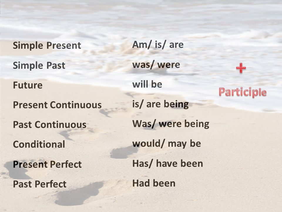 + Participle Simple Present Am/ is/ are Simple Past was/ were Future