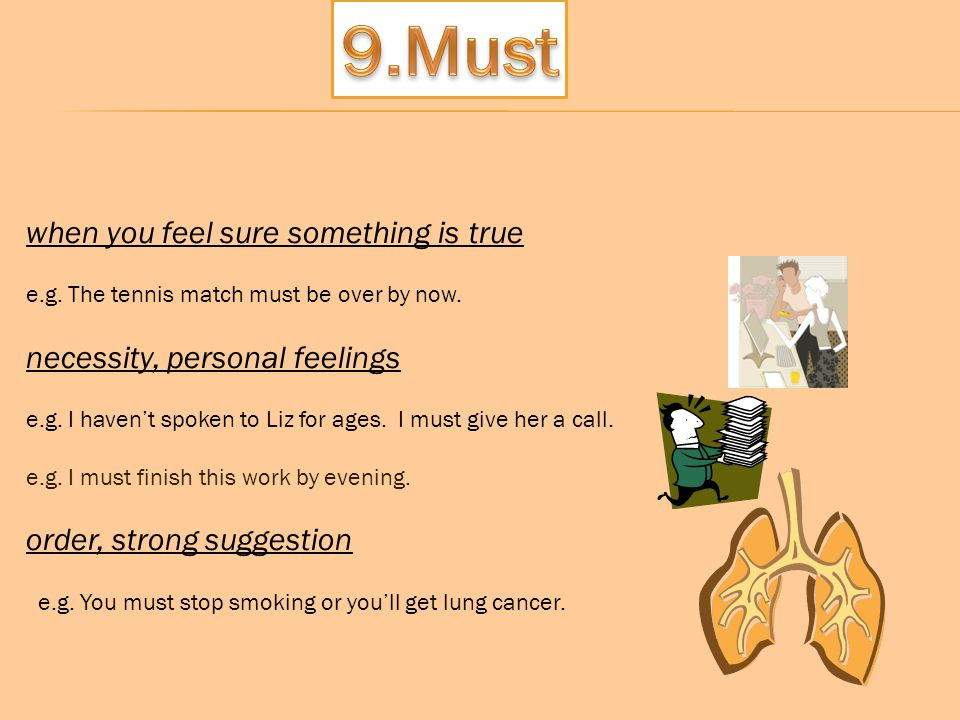 9.Must when you feel sure something is true