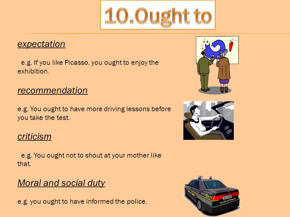 10.Ought to expectation recommendation criticism Moral and social duty