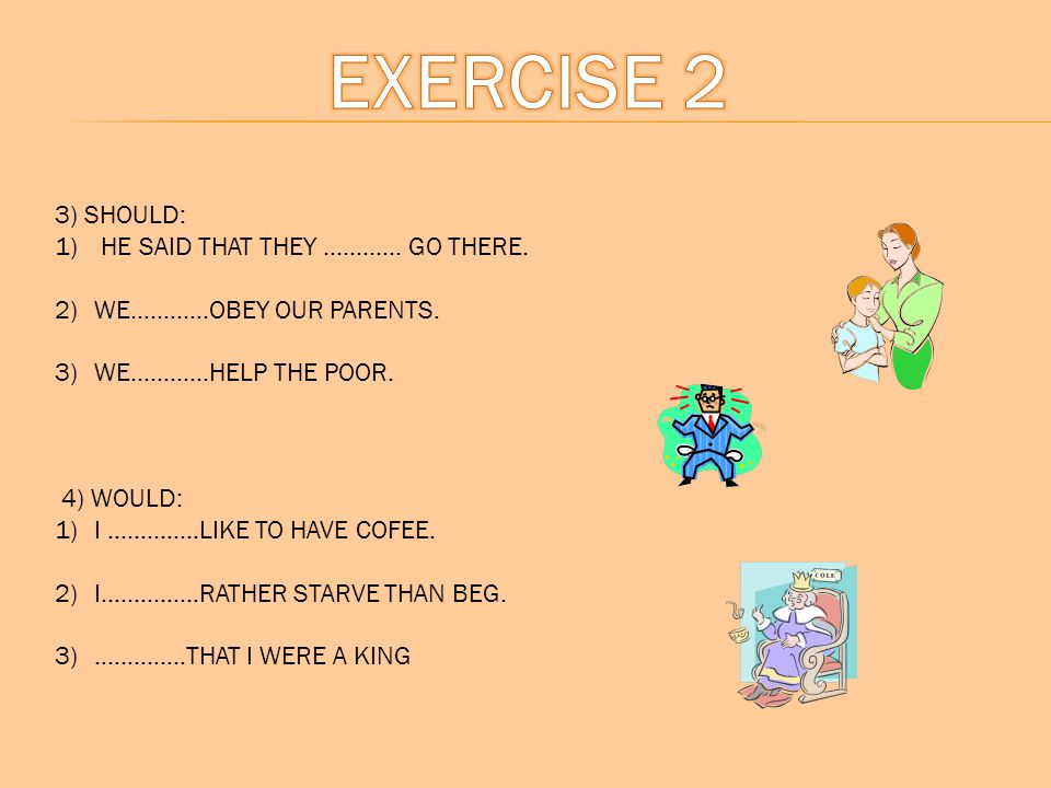 EXERCISE 2 3) SHOULD: HE SAID THAT THEY ………… GO THERE.