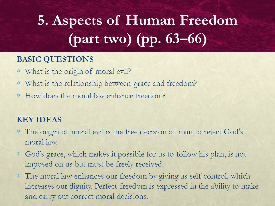 5. Aspects of Human Freedom (part two) (pp. 63–66)