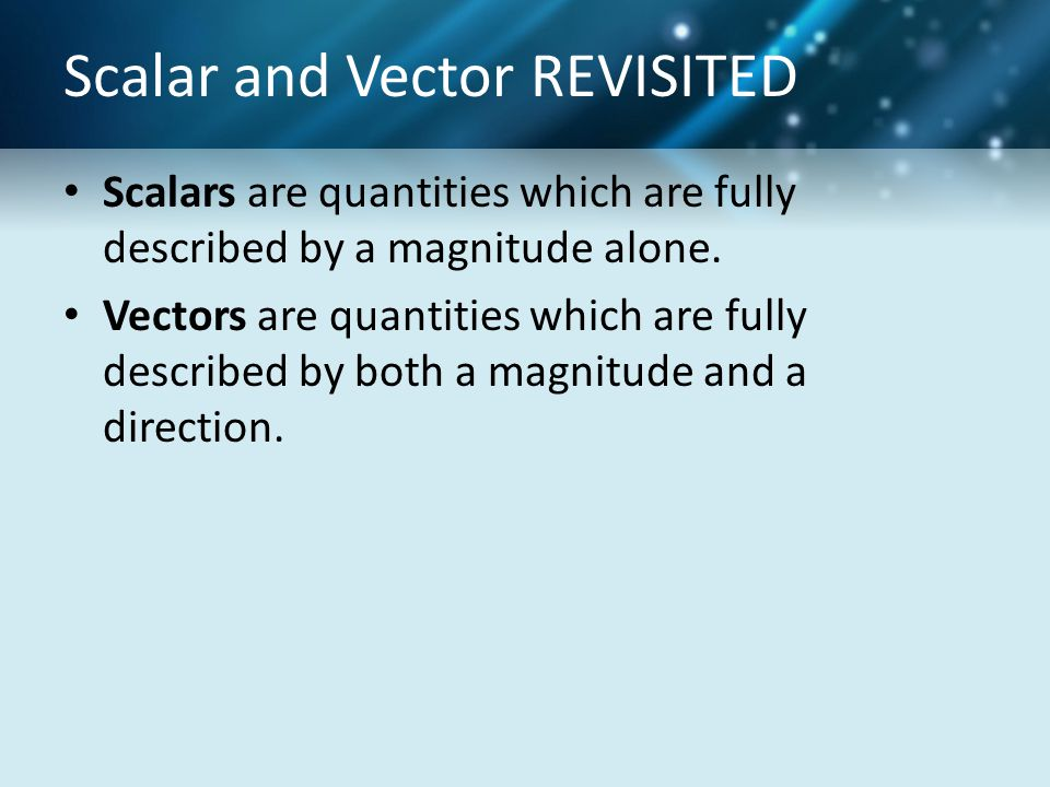 Scalar and Vector REVISITED