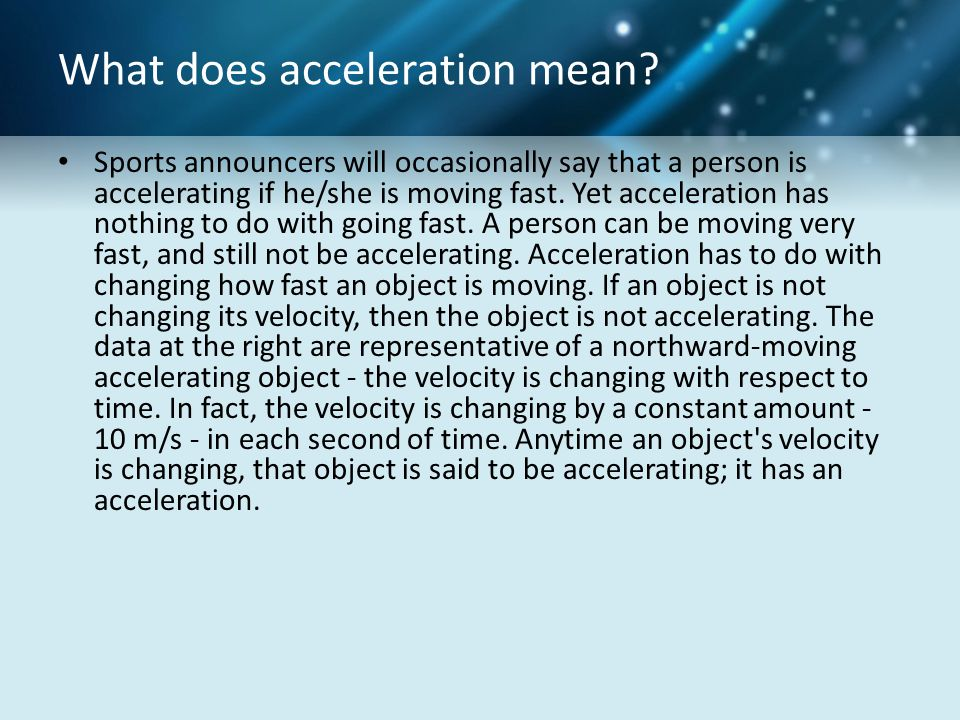 What does acceleration mean