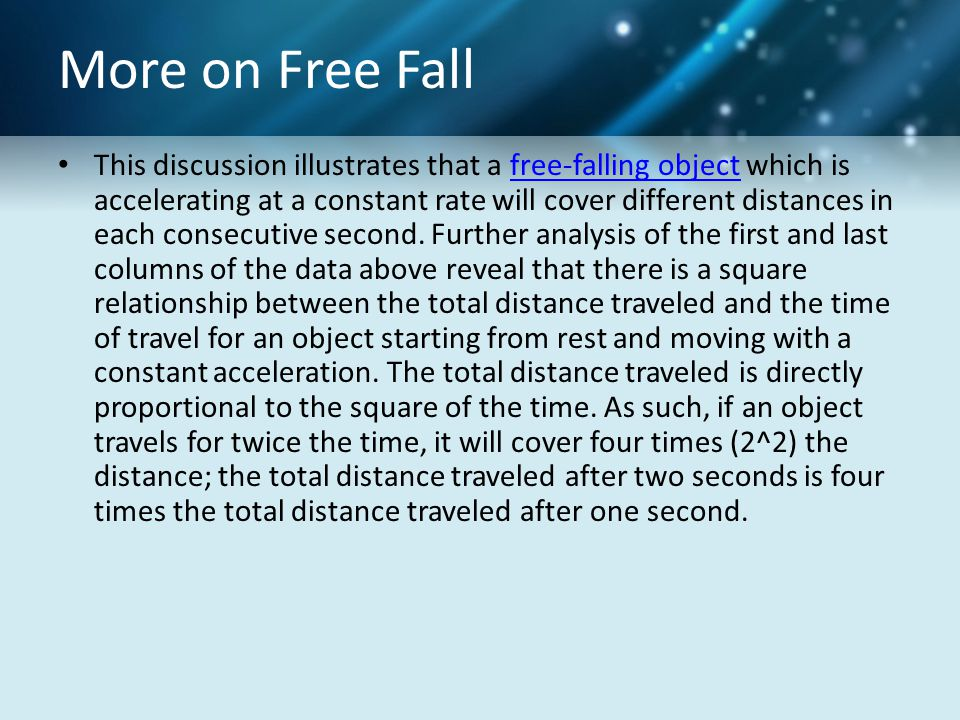 More on Free Fall