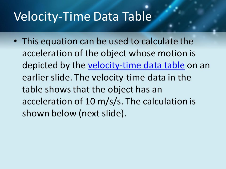 Velocity-Time Data Table